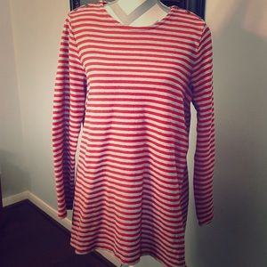 J. Jill Red and Gray Striped Long Sleeve Tunic
